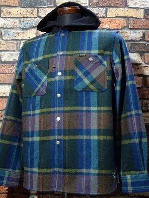 Bluco ブルコ  フード付き長袖 ネルシャツ (OL-049-020) hood nel shirts カラー:ブルー