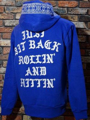 kustomstyle スウェットプルオーバーパーカー (KSP2020BL) rollin and hittin bandana pullover hoodie 刺繍logo カラー:ブルー
