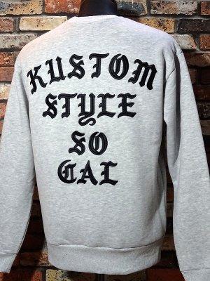 kustomstyle カスタムスタイル クルーネック スウェットトレーナー (KSSW2022GY) sit back crew neck sweat 刺繍logo カラー:ライトグレー