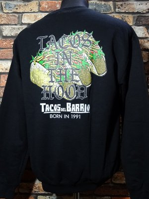 kustomstyle クルーネック スウェットトレーナー(CHSW2004BK)tacos del barrio tacos in the hood crewneck sweat カラー:ブラック