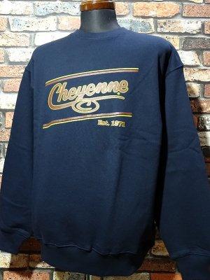 kustomstyle-Cheyenne シャイアン クルーネック スウェットトレーナー(CHSW2001NY) cheyenne icon カラー:ネイビー