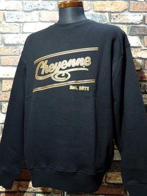 kustomstyle-Cheyenne シャイアン クルーネック スウェットトレーナー(CHSW2001BK) cheyenne icon カラー:ブラック