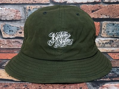 kustomstyle カスタムスタイル メトロハット(KSBOWLHT1101OL) norm logo wax coated bowl hat カラー:オリーブ