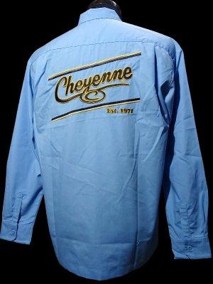 kustomstyle-Cheyenne シャイアン 長袖ワークシャツ (CHLS2001WB) cheyenne icon long sleve shirts カラー:ワークブルー