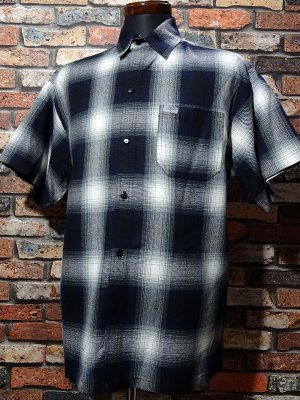CalTop キャルトップ 半袖チェックシャツ FL PLAID SHORT SHIRT カラー:ネイビー