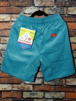 Cookman クックマン ルーズフィット イージー ショートパンツ (Corduroy Turquoise) カラー:ターコイズ
