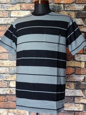 LoserMachine ルーザーマシーン マルチボーダー ポケットTシャツ (CAMPO) カラー:ブラックxグレー