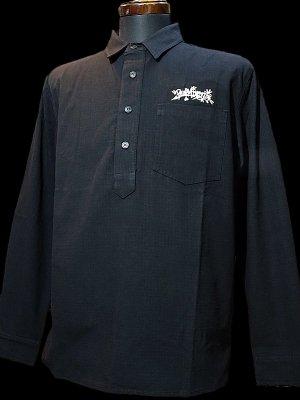 RealMinority リアルマイノリティー オリジナル プルオーバー 長袖ワークシャツ(TheWorkwear-ThrowUP) カラー:ブラック