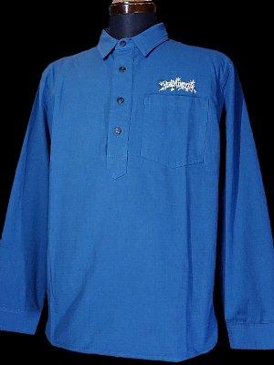 RealMinority リアルマイノリティー オリジナル プルオーバー 長袖ワークシャツ(Throw UP) カラー:ピーコックブルー
