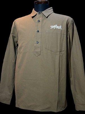 RealMinority リアルマイノリティー オリジナル プルオーバー 長袖ワークシャツ(TheWorkwear-ThrowUP) カラー:タン