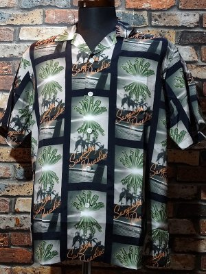kustomstyle カスタムスタイル 総柄半袖シャツ (KSSS2029BK) brownyard&sunshine rayon shirts カラー:ブラック