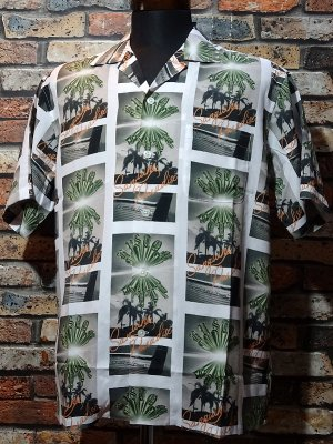 kustomstyle カスタムスタイル 総柄半袖シャツ (KSSS2029WH) brownyard&sunshine rayon shirts カラー:ホワイト