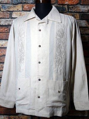 kustomstyle カスタムスタイル 長袖キューバシャツ (KSLS2107OWH) longroof guayabera long sleve shirts カラー:オフホワイト