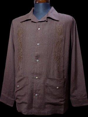 kustomstyle カスタムスタイル 長袖キューバシャツ (KSLS2107BR) longroof guayabera long sleve shirts カラー:ブラウン