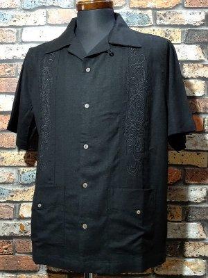 kustomstyle カスタムスタイル 半袖キューバシャツ (KSSS2107BK) longroof guayabera short sleve shirts  カラー:ブラック
