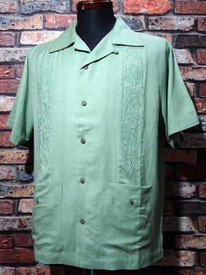 kustomstyle カスタムスタイル 半袖キューバシャツ (KSSS2107GR) longroof guayabera short sleve shirts  カラー:グリーン