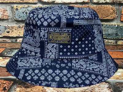 kustomstyle カスタムスタイル バケットハット(KSBH1901BANY) eternal flame bandana bucket hat カラー:ネイビー