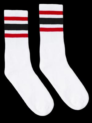 SOCCO SOCKS  ソッコ ソックス CREW SOCKS  (スネ丈) Striped Socks カラー:Red and Black