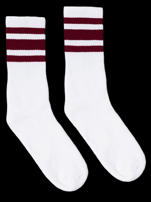 SOCCO SOCKS  ソッコ ソックス CREW SOCKS  (スネ丈) Striped Socks カラー:Maroon