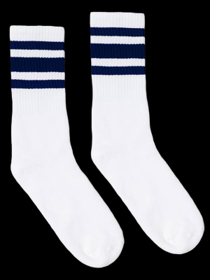 SOCCO SOCKS  ソッコ ソックス CREW SOCKS  (スネ丈) Striped Socks カラー:Navy