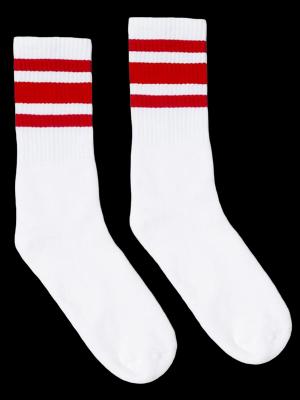 SOCCO SOCKS  ソッコ ソックス CREW SOCKS  (スネ丈) Striped Socks カラー:Red
