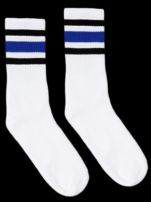 SOCCO SOCKS  ソッコ ソックス CREW SOCKS  (スネ丈) Striped Socks カラー:Black and Blue