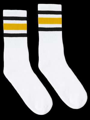 SOCCO SOCKS  ソッコ ソックス CREW SOCKS  (スネ丈) Striped Socks カラー:Black and Gold