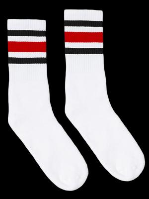 SOCCO SOCKS  ソッコ ソックス CREW SOCKS  (スネ丈) Striped Socks カラー:Black and Red
