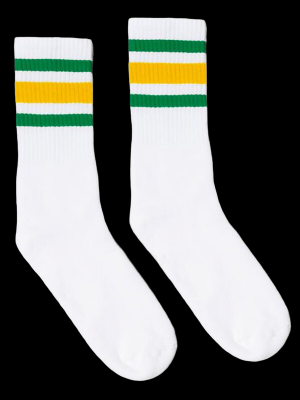 SOCCO SOCKS  ソッコ ソックス CREW SOCKS  (スネ丈) Striped Socks カラー:Green and Gold