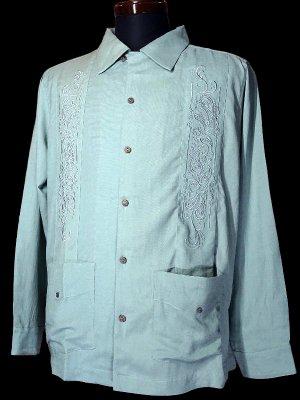 7/10前後入荷予定kustomstyle 長袖キューバシャツ (KSLS2107TBL) longroof guayabera long sleve shirts カラー:ターコイズブルー