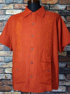 7/10前後入荷予定 kustomstyle 半袖キューバシャツ (KSSS2107OR) longroof guayabera short sleve shirts  カラー:オレンジ