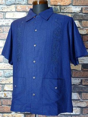 7/10前後入荷予定 kustomstyle 半袖キューバシャツ (KSSS2107NY) longroof guayabera short sleve shirts  カラー:ネイビー