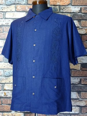 <img class='new_mark_img1' src='https://img.shop-pro.jp/img/new/icons15.gif' style='border:none;display:inline;margin:0px;padding:0px;width:auto;' />kustomstyle 半袖キューバシャツ (KSSS2107NY) longroof guayabera short sleve shirts  カラー:ネイビー
