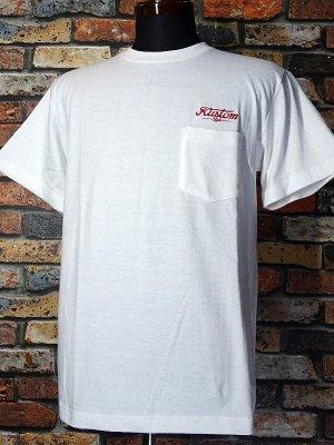 kustomstyle カスタムスタイル ポケット付きTシャツ (KST2024WH) service station embroidary  カラー:ホワイト