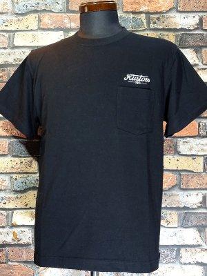 kustomstyle カスタムスタイル ポケット付きTシャツ (KST2024BK) service station embroidary  カラー:ブラック