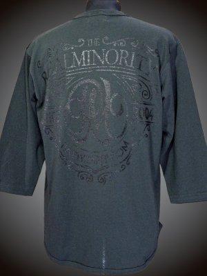 RealMinority リアルマイノリティー 3/4スリーブ ルーズフィットベースボールTee (Coat of arms) カラー:チャコールブラック
