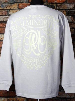 RealMinority リアルマイノリティー  ロングスリーブTシャツ (Coat of arms) 10.2oz tough body カラー:ホワイト