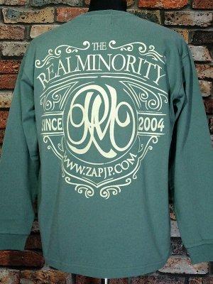 RealMinority リアルマイノリティー  ロングスリーブTシャツ (Coat of arms) 10.2oz tough body カラー:グリーン