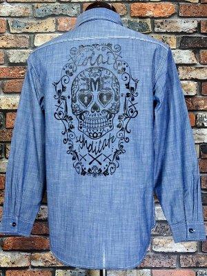 RealMinority リアルマイノリティー シャンブレー長袖ワークシャツ(RM×3M3 syndicate) カラー:ブルー