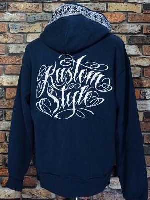 kustomstyle スウェットプルオーバーパーカー (KSP2119NY) NORM C/S bandana pullover hoodie 刺繍logo カラー:ネイビー