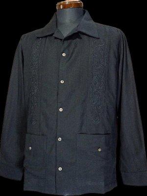 kustomstyle 長袖キューバシャツ (KSLS2107BK) longroof guayabera long sleve shirts カラー:ブラック