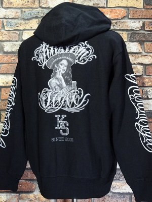 kustomstyle カスタムスタイル スウェットプルオーバーパーカー (KSP2120BK) SUR CALIFAS pullover hoodie カラー:ブラック