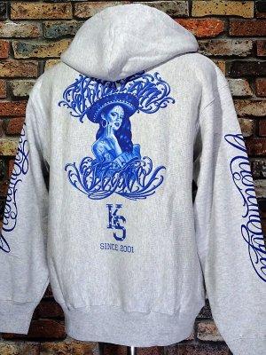 kustomstyle カスタムスタイル スウェットプルオーバーパーカー (KSP2120ASH) SUR CALIFAS pullover hoodie カラー:アッシュグレー