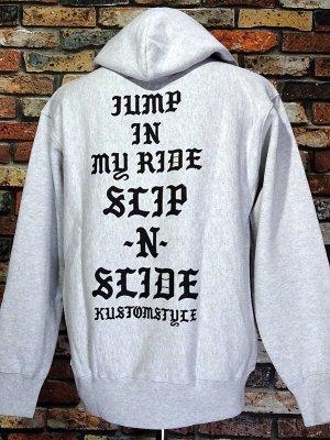kustomstyle カスタムスタイル スウェットプルオーバーパーカー (KSP2115ASH) SLIP-N-SLIDE pullover hoodie カラー:アッシュグレー