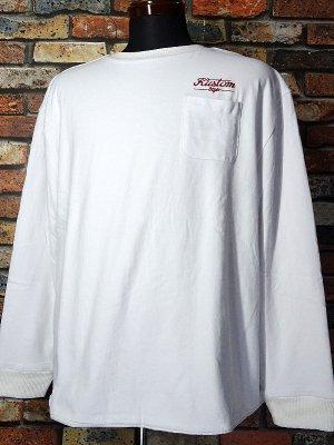 kustomstyle リバーシブルスウェットシャツ (KSSW2024WH) service station crew sweat/thermal revesible shir カラー:ホワイト