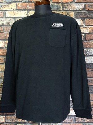 kustomstyle リバーシブルスウェットシャツ (KSSW2024BK) service station crew sweat/thermal revesible shir カラー:ブラック
