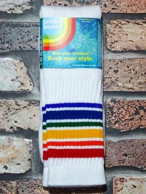 PRIDE SOCKS  プライドソックス KNEE HIGH TUBE SOCKS  (FEARLES) Striped Socks カラー:ホワイト