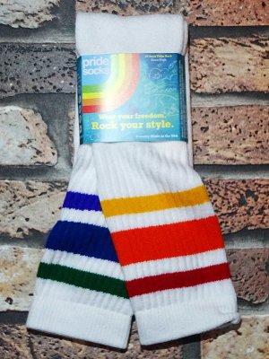 PRIDE SOCKS  プライドソックス KNEE HIGH TUBE SOCKS  (COURAGE) Striped Socks カラー:ホワイト