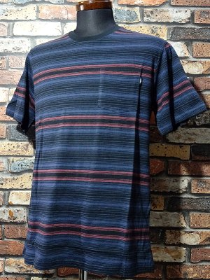 LoserMachine ルーザーマシーン マルチボーダー ポケットTシャツ (HEANES) カラー:ブラックxネイビー×ボルドー