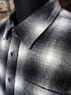 kustomstyle カスタムスタイル 長袖 ウール チェックシャツ (KSLS2121BK) LA-BREA wool board shirts カラー:ブラック